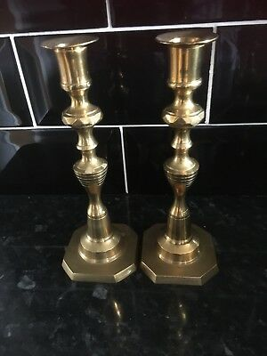 Beautiful pair of solid  brass candle sticks just fab