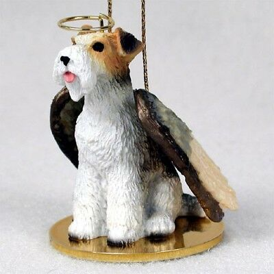 FOX TERRIER wirehair dog ANGEL Ornament HAND PAINTED Resin FIGURINE Christmas