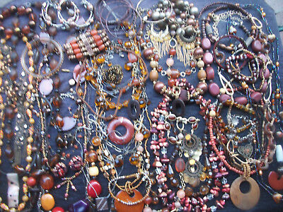 Lot Of Vintage/now Costume Jewelry Beautiful Browns Oranges Bronze Colors