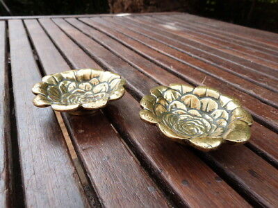 Lovely Pair Of Small Antique Brass Pin Trays In Form Of A Flower.