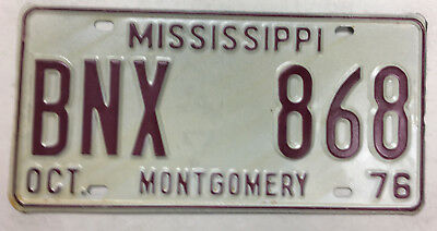 1976 Mississippi Galvanized Steel Passenger Car License Plate (De Tour)
