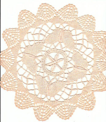 BUTTERFLY CROCHET DOILIE IN TAUPE COLOR very pretty & fancy scallop  border