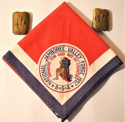 1957 Boy Scout Jamboree  Neckerchief And Two (2) For God & Country Slides   Bsa