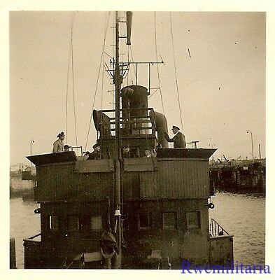 GOOD! Close Up View of Bridge on Kriegsmarine Minensuchboot in Harbor!!!