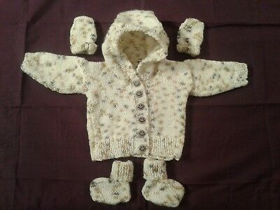 "Hand Knitted 3 PIECE BOYS  Pram Set,16""/18"" 0-3 months."