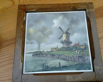 "Framed  tile ""Windmill a storm is brewing"" HR Johnson"