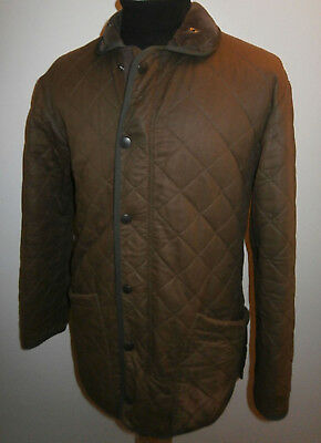 Barbour D210 Duracotton Polarquilt Jacket Men Small 38 Chest Brown Quilted Coat