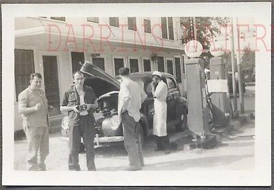 Vintage Car Photo Man w/ Camera 1940 Ford Deluxe at Crown Gas Station 769179