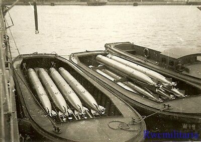 **RARE: Kriegsmarine Torpedos Loaded Into Barges for Resupply in Harbor!!!**