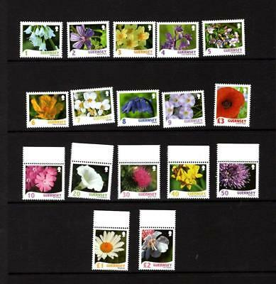(H919)  Guernsey  Definitive stamps 'flowers' 17 values COLLECT OR POSTAGE