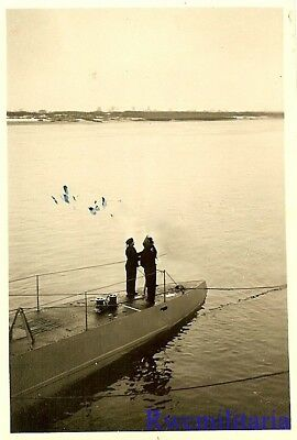 **RARE: Kriegsmarine Submariners on Aft Deck of U-Boat at Anchor in Harbor!!!**