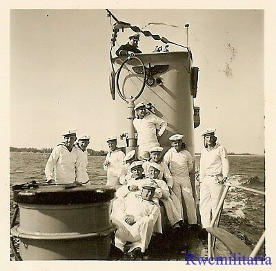 **RARE: Kriegsmarine Submariners on Deck of U-Boat Surfaced at Sea (#1)!!!**