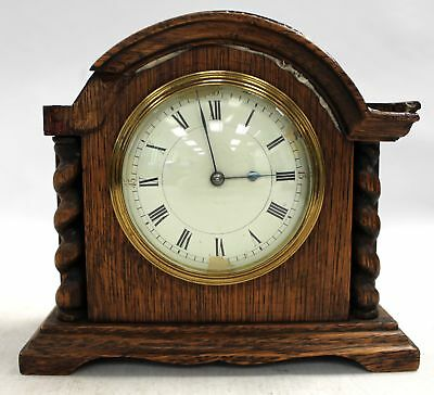"French Oak ""L F"" Wind- up MANTLE CLOCK - Working & Damaged  - H54"