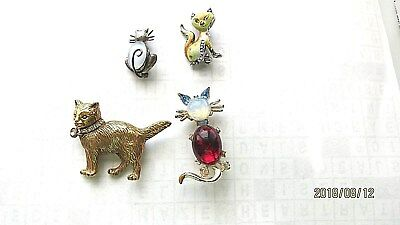 Lot of 4 Vintage Cat Brooches, Danecraft, Moonstone  Sterling Jelly Belly, MMA,