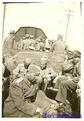 WAR IS OVER! German Railway Cars Loaded w/ Captured Serbian Officer POW's; 1941!