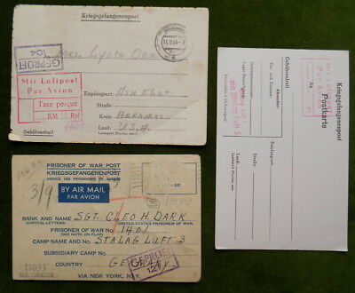 (3) WWII 8th AIR FORCE STALAG LUFT 3 BALL GUNNER 306th BOMB GROUP POW LETTER LOT