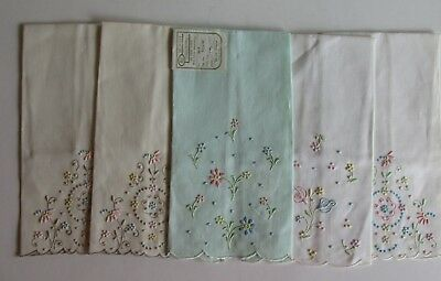Vintage Lot of 5 Pure Linen Embroidered Napkins BC Linens Beautiful Portugal
