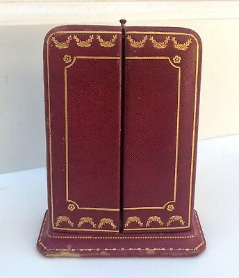 Vintage Hard to Find CARTIER Red Leather Art Deco Earring Box - NR