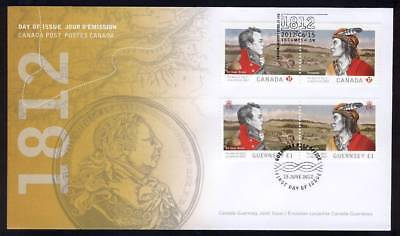 1812 WAR, CANADA GUERNSEY OFDC  Joint Issue 2554-2555 First Day Cover Cover FDC