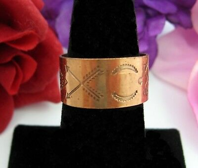 THUNDERBIRD Crossed Arrows COPPER RING Vintage  Band Adjustable SW Symbols
