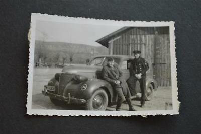 Vintage Car Photo WWII German Army Soldiers w/ 1939 Chevrolet Chevy 895