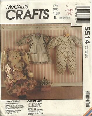"""Mccalls Crafts 5514 24"""" Rag Hair Doll, Clothes & Toy Doll Sewing Pattern Vintage"""