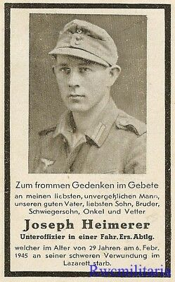 Death Notice: Wehrmacht Unteroffizier in Transport Battalion Died of Wounds 1945