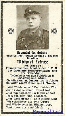 Death Notice: Decorated Wehrmacht Panzergrenadier KIA in AFRIKA in 1943!!!