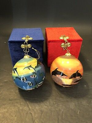 Pair Maui by Design Reverse Hand Painted Ornaments Hawaii Dolphins Marine Life