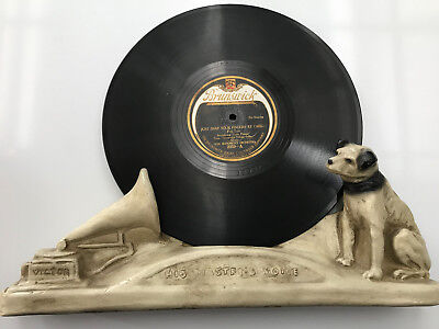 """Victor Nipper Dog """"his Masters Voice"""" Plaster Record Holder"""