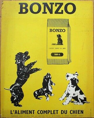 Dog Food 1930s French Advertising Sign - 'Bonzo' w/Scotty Terrier & Poodle-Paris