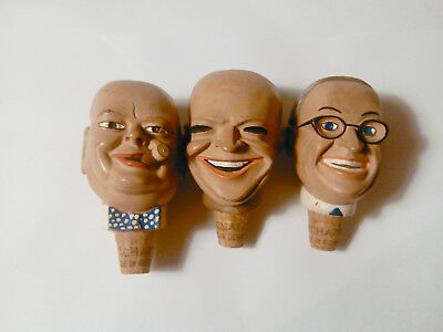 ACHATIT Germany WWII Political Heads CHURCHILL EISENHOWER TRUMAN Bottle Stoppers