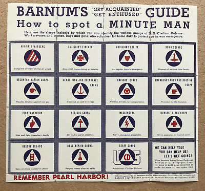 RARE Sheet of 15 WWII Poster Stamps CIVIL DEFENSE WORKER INSIGNIA Dec 1941