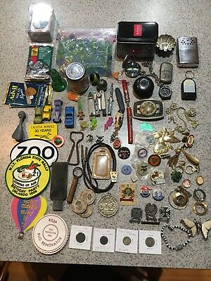 Junk Drawer Lot Knives, Sterling Medals Pins Pocket Watch Marbles Coins Cards