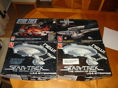 "4 Large 19"" Long AMT Star Trek USS Enterprise Models 1979-91No Instr Missing Pcs"