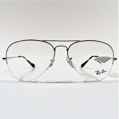 39b69329988 New Ray Ban Aviator Optical Eyeglasses RX Frame RB 6589 2501 Silver 56-15-