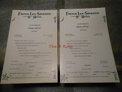 Two Vintage 1971 French Lick Sheraton Hotel Menu Indiana