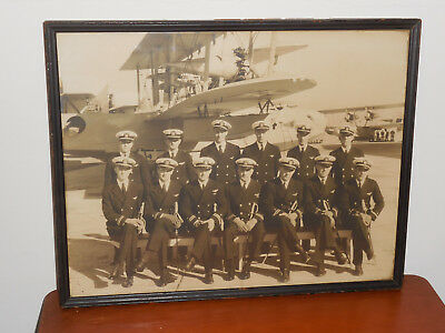 Pre Ww2 Us Navy Aviation Vp-7F Named Officers Group Framed Photo Pilots Dec 1931