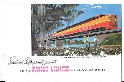 Southern Pacific Advertising Brochure - Colorful The New Sunset Limited - 1952