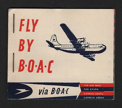OPC Vintage BOAC Airways Complete Air Mail Etiquette Labels Booklet of 25