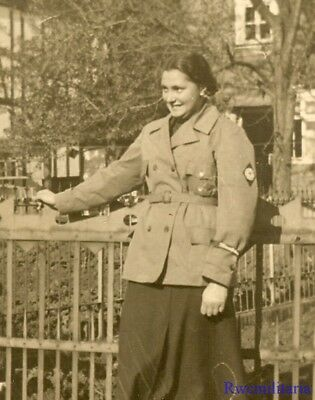 Port. Photo: RARE Female Uniformed FAD Girl Posed w/ Cuff Title Worn; 1935!!!
