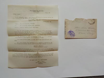 WWI Letter 1918 Offensive Meuse Argonne Luxemburg WW I Rome Italy Red Cross WW1