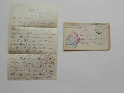 WWI Letter 1918 German Prison Camp 26th Engineers Rome Italy Red Cross WW1