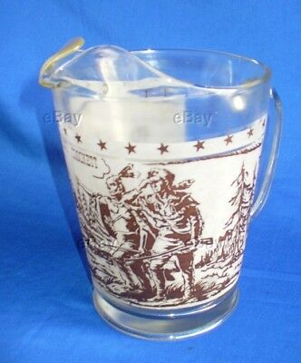 Vintage Davy Crockett Pitcher Glass 1955 American Hero Alamo Frosted Water Drink