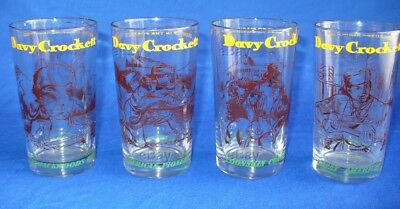 Vintage Davy Crockett Character Glasses Drinking Glass Collector Pioneer Alamo