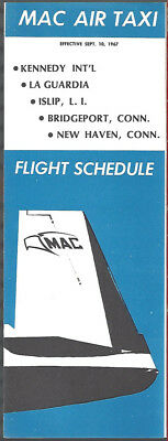 MAC Air Taxi system timetable 9/10/67