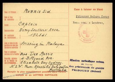 UK 1944 Malaya Japanese POW Camp Red Cross Cover Catholic Switzerland 89265