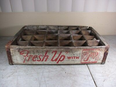 Vintage Wood Advertising 7-UP Soda Pop 24-Bottle Carrier 'Fresh Up With 7-UP