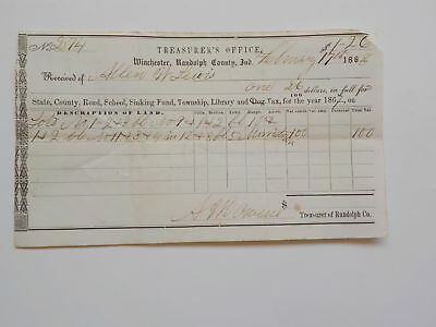 Antique Document 1868 Winchester Randolph County Indiana Money Received Paper