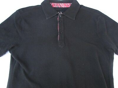 Armani Exchange Mens Pullover Knit Short Sleeve Black Logo Polo Shirt Small S